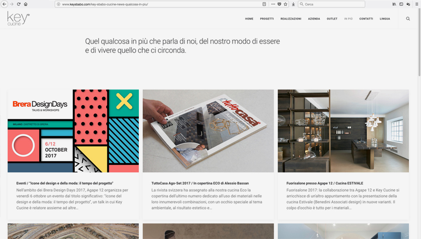 Sito web Key Cucine Sbabo design Alessio Bassan